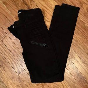 Black high rise skinny legging jeans w zipper